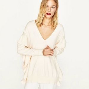 B2G1F: Zara Oversized Ruffle Sweater in Cream